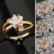 Fashion Star Shaped Rhinestone Inlaid Gold-tone Ring