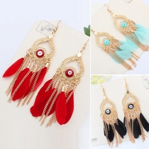 Fashion Delicate Eyes Feather Shaped Tassel Pendant Earring