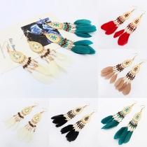 Fashion Delicate Oval Feather Shaped Tassel Pendant Earring