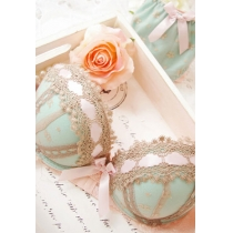 Sweet Sexy Lace Spliced Bowknot Push Up Padded Bra and Panty Set