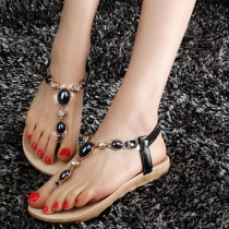 Bohemian Style Rhinestone Flat Heel Thong Sandals