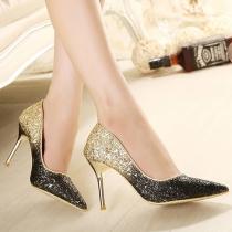 Fashion Color Gradient Pointed Toe Sequins Stiletto Shoes