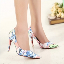 Fashion Floral Print Pointed Toe High Heeled Shoes