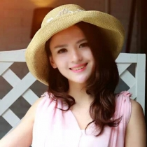 Fashion Lace Spliced Foldable Wide Brim Sunscreen Straw Hat