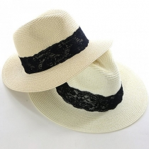 Fashion Lace Spliced Jazz Hat Sunscreen Straw Hat