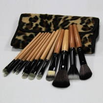 Professional Cosmetic 12 PCS Makeup Brush Set with Leopard Print Pouch