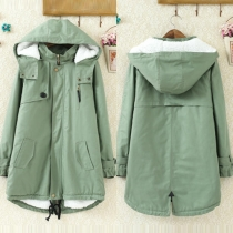 Navy Style Solid Color Long Sleeve Hooded Warm Padded Coat