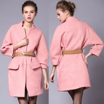 Elegant Solid Color Long Sleeve Woolen Coat with Waistband