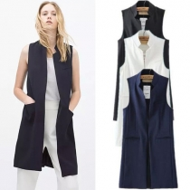 Fashion Solid Color Collar Sleeveless Pocket Slit Waist Vest