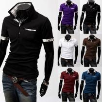 Fashion Short Sleeve POLO Collar Plaid Spliced Men's T-shirt