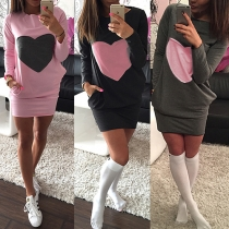 Fashion Heart Pattern Long Sleeve Round Neck Slim Fit Thin Dress