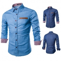 Fashion Solid Color Long Sleeve POLO Collar Men's Denim Shirt