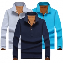Fashion Solid Color Long Sleeve POLO Collar Men's T-shirt