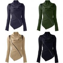 Fashion Solid Color Long Sleeve Cowl Neck Irregular Hem Coat