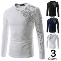 Fashion Long Sleeve Round Neck Totem Printed Men's T-shirt
