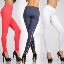 Fashion Solid Color High Waist Slim Fit Pencil Pants Leggings