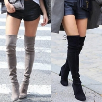 Fashion Thick High-heeled Pointed Toe Over The Knee Boots