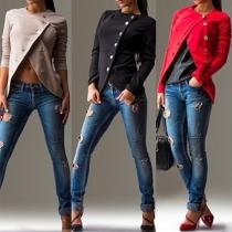 Fashion Solid Color Long Sleeve Irregular Hem Oblique Buttons Coat