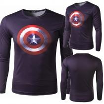 Fashion Captain America Pattern Long Sleeve Round Neck Men's Sports T-shirt