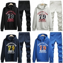 Fashion Letters Printed Long Sleeve Hooded Men's Sports Suit