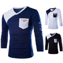 Fashion Contrast Color Long Sleeve V-neck Men's T-shirt