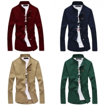 Fashion Solid Color Long Sleeve Stand Collar Men's Shirt