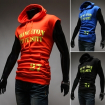 Fashion Letters Printed Sleeveless Hooded Men's T-shirt