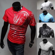 Fashion Short Sleeve Round Neck Printed Men's T-shirt