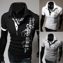 Fashion Short Sleeve POLO Collar Printed Men's T-shirt