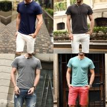 Fashion Solid Color Short Sleeve V-neck Men's T-shirt