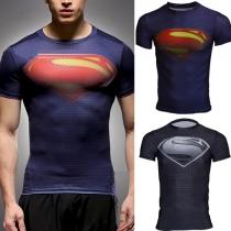 Fashion Short Sleeve Round Neck Superman Printed Men's Sports T-shirt