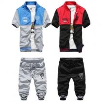 Fashion Contrast Color Short Sleeve Tops + Cropped Pants Men's Sports Suit
