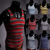Casual Style Men's Striped Tank Tops