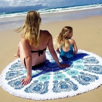 Fashion Geometric Print Tassel Beach Towel