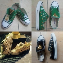 Retro Style Round Toe Lace-up Rivets Couple Canvas Shoes