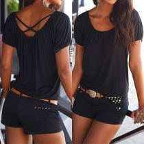 Casual Style Solid Color Round Neck Cross Back Tops