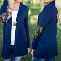 Fashion Sequin Spliced Long Sleeve Open-front Cardigan