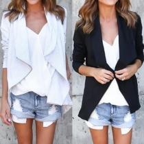 Fashion Solid Color Long Sleeve Oblique Zipper Coat For Women