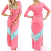 Sweet Lace Spliced Round Neck 3/4 Sleeve Family Fitted Maxi Dress