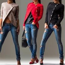 Fashion Solid Color Long Sleeve Oblique Buttons Little Coat