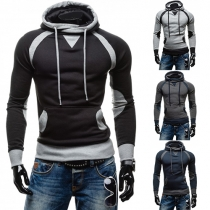 Fashion Contrast Color Hooded Long Sleeve Sweatshirt For Men