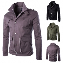 Trendy Solid Color Lapel Long Sleeve Single-breasted Drawstring Waist Men's Jacket