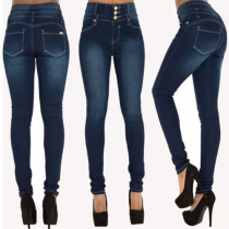 Sexy Single-breasted High Waist Skinning Women's Jeans