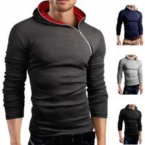 Fashion Hooded Obilique Zipper Long Sleeve Sweatshirt For Men