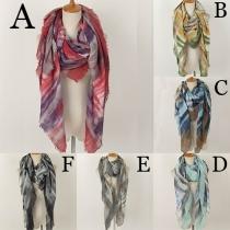 Elegant Colorful Stripe Tie-dye Tassel Shawl Scarf