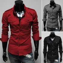 Fashion Solid Color Lapel Single-breasted Long Sleeve Men's Shirt