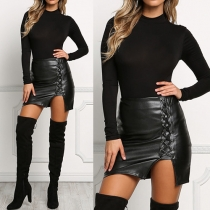 Sexy Solid Color Side Lace-up Cut-out Hemline High Waist PU Bust Skirt