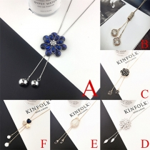 Trendy Rhinestone Flower Pendant Sweater Necklace