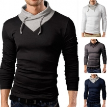 Casual Style Contrast Color Long Sleeve Slim Fit Men's T-shirt