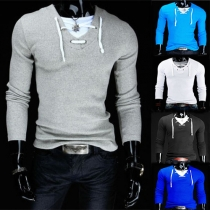 Casual Style Contrast Color Front Lace-up Long Sleeve T-shirt